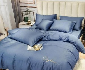 Комплект из Мерсеризованного сатина 2 спальный с простыней на резинке Глубокий синий
