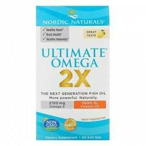 Nordic Naturals, Ultimate Omega 2X с витамином D3, лимон, 60 мягких желатиновых капсул