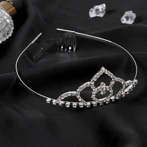 """Диадема для волос """"Аделина"""" обручальное кольцо, 4 см, серебро"""