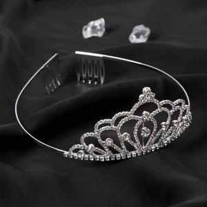 "Диадема для волос ""Аделина"" корона, 5 см, серебро"