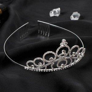 "Диадема для волос ""Аделина"" круги, 5 см, серебро"