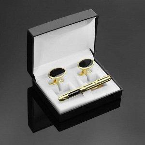 """Набор мужской """"Запонки + Зажим для галстука"""" овал с эмалью, цвет чёрный в золоте"""