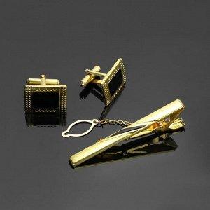 """Набор мужской """"Запонки + Зажим для галстука"""" точечный рисунок, прямоугольник, цвет чёрный в золоте"""