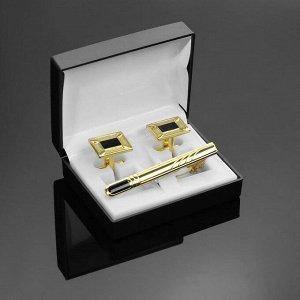 """Набор мужской """"Запонки + Зажим для галстука"""" рамка с эмалью, цвет чёрно-золотой"""