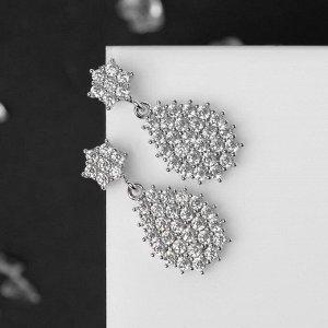 """Серьги со стразами """"Мини"""" звёздочка, цвет белый в серебре"""