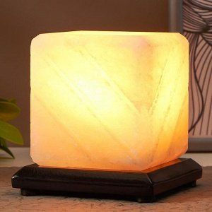"""Соляной светильник с диммером  """"Куб-арома"""" Е14 15Вт 1-2 кг белая соль 11х11х12 см"""