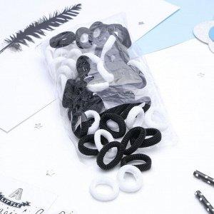 """Резинка для волос """"Махрушка"""" 3,5 см (набор 76 шт) чёрный и белый"""