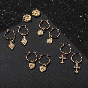 """Серьги-кольца набор 5 пар """"Конго"""" с подвесками, цвет золото"""