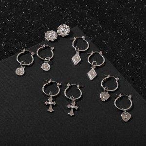 """Серьги-кольца набор 5 пар """"Конго"""" с подвесками, цвет серебро"""
