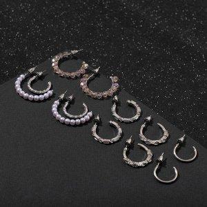 """Серьги-кольца набор 6 пар """"Настроение"""", цвет бело-розовый в серебре"""