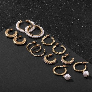 """Серьги-кольца набор 6 пар """"Жемчужные"""" с подвесками, цвет белый в золоте"""