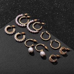 """Серьги-кольца набор 6 пар """"Жемчужные"""" настроение, цвет белый в золоте"""