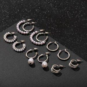 """Серьги-кольца набор 6 пар """"Жемчужные"""" настроение, цвет белый в серебре"""