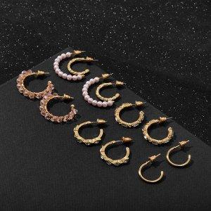 """Серьги-кольца набор 6 пар """"Настроение"""", цвет бело-розовый в золоте"""