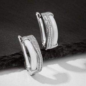 """Серьги керамика """"Сплетение"""", цвет белый в серебре"""