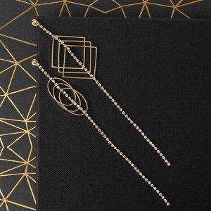 """Серьги висячие со стразами """"Бурлеск"""" квадраты и овалы, цвет белый в золоте 5433265"""