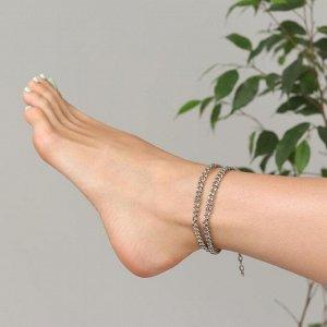 """Браслет на ногу """"Двойная цепь"""" цвет серебро,43см"""