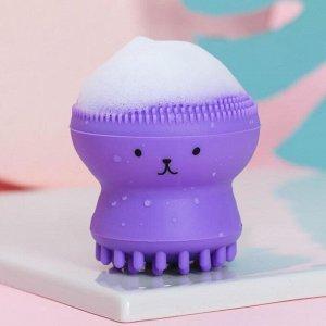 Щёточка для умывания «Лама», фиолетовый, 6 х 5,5 х 5,5 см