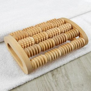 Массажёр для спины и стоп «Барабаны», деревянный, 5 комбинированных рядов 1403395