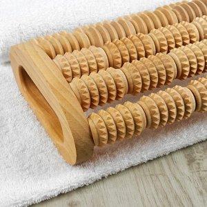 Массажёр для спины и стоп «Барабаны», деревянный, 5 комбинированных рядов