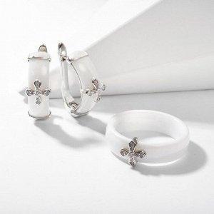 """Гарнитур родирование 2 предмета: серьги, кольцо """"Керамика"""" крестик, цвет белый в серебре 18 размер"""