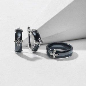 """Гарнитур родирование 2 предмета: серьги, кольцо """"Керамика"""" крестик, цвет чёрный в серебре 18 размер"""