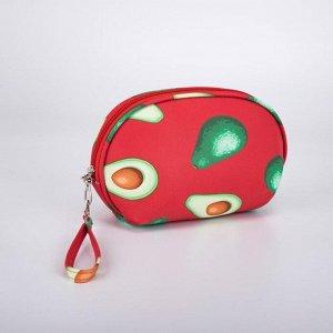 Косметичка-сумочка, отдел на молнии, с ручкой, цвет красный, «Авокадо»