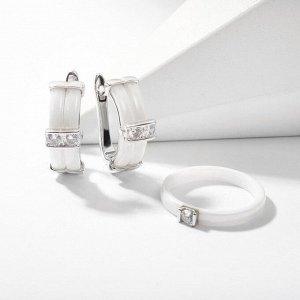 """Гарнитур родирование 2 предмета: серьги, кольцо """"Керамика"""" дуо, цвет белый в серебре 18 размер"""