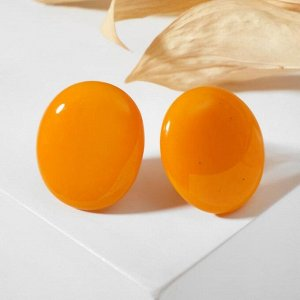 """Серьги из витражного стекла """"Овал"""" широкий, цвет оранжевый"""
