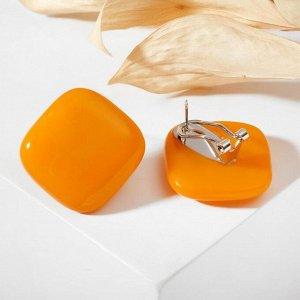 """Серьги из витражного стекла """"Квадрат"""", цвет оранжевый"""