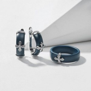 """Гарнитур родирование 2 предмета: серьги, кольцо """"Керамика"""" крестик, цвет морской матовый в серебре 19 размер"""