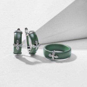 """Гарнитур родирование 2 предмета: серьги, кольцо """"Керамика"""" крестик, цвет зелёный матовый в серебре 18 размер"""