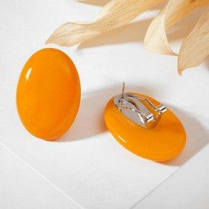 """Серьги из витражного стекла """"Овал"""", цвет оранжевый"""