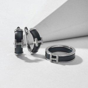 """Гарнитур родирование 2 предмета: серьги, кольцо-трансформер """"Керамика"""" пряжка, цвет чёрный матовый в серебре 18 размер"""