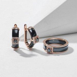 """Гарнитур родирование 2 предмета: серьги, кольцо-трансформер """"Керамика"""" мистик топаз, цвет чёрный в золоте 18 размер"""