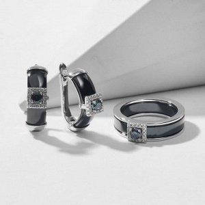 """Гарнитур родирование 2 предмета: серьги, кольцо-трансформер """"Керамика"""" мистик топаз, цвет чёрный в серебре 18 размер"""
