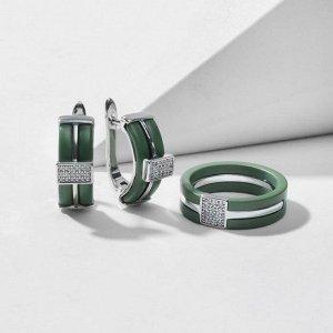 """Гарнитур родирование 2 предмета: серьги, кольцо """"Керамика"""" дорожка, цвет зелёный матовый в серебре 18 размер"""