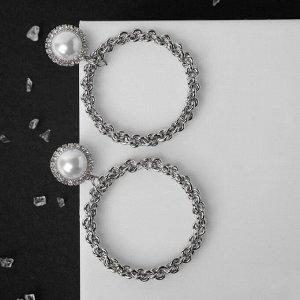 """Серьги с жемчугом """"Цепи"""" звенья крупные в кольце, цвет белый в серебре"""