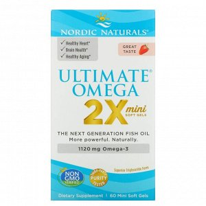 Nordic Naturals, Ultimate Omega 2X, вкус клубники, 1120 мг, 60 мягких желатиновых миникапсул