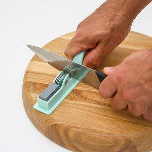 Точилка для ножей Доляна «Острое лезвие», 19?4,5 см, с ручкой и шлифовкой, цвет МИКС