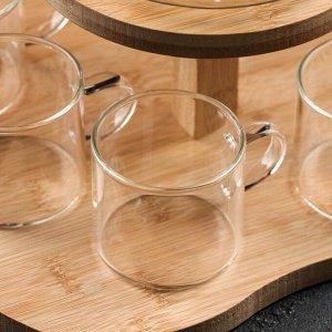 Набор чайный на деревянной подставке «Эко», 6 предметов: чайник 1,1 л, 5 кружек 120 мл