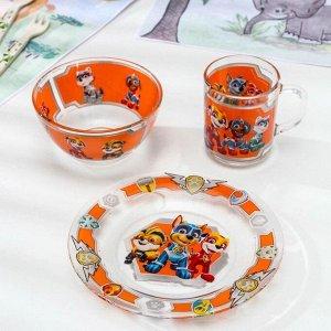 Набор посуды детский Priority «Щенячий патруль: Мегащенки», 3 шт: тарелка d=20 см, салатник d=13 см, кружка 200 мл
