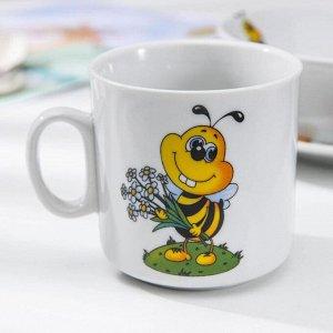 Набор посуды Добрушский фарфоровый завод «Пчёлы», 3 предмета: кружка 250 мл, салатник 350 мл, тарелка мелкая 16,5 см, рисунок МИКС