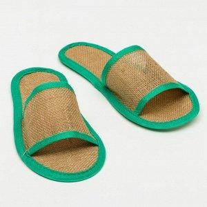"""Тапочки с открытым мысом льняные, в индивидуальной упаковке """"Боббер"""" Natural green"""