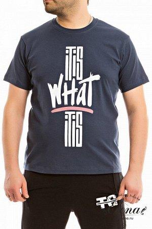 Футболка Мужская футболка выполнена из х/б полотна с лайкрой. Рукав короткий, втачной, горловина имеет круглый вырез. Спереди расположен принт. Размерный ряд: 44-62. Состав Хлопок 95% Лайкра 5% Артику