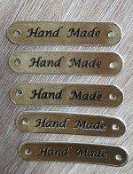 Нашивка кожзам HandMade 10*50мм набор 5шт