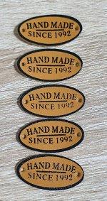Нашивка кожзам HandMade 18*34мм набор 5шт