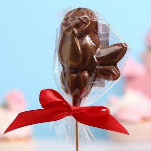 Шоколад фигурный «Розочка с листочком» рубиновый, 30 г