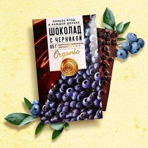 Шоколад молочный «Польза ягод» с черникой 85 г.