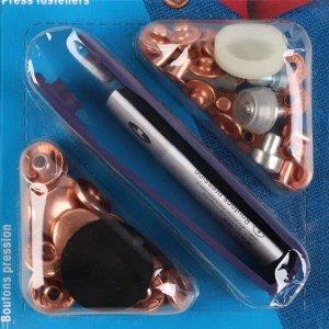 Кнопки установочные, d = 15 мм, 10 шт, с установщиком, цвет медный